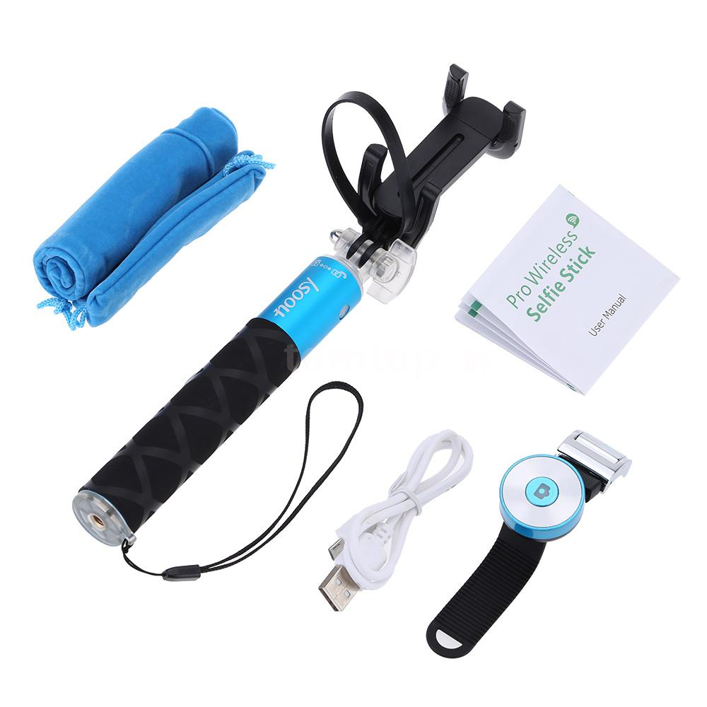 noosy mini selfie stick with bluetooth remote shutter br0801 blue. Black Bedroom Furniture Sets. Home Design Ideas