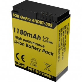 NITECORE Battery Replacement 1180mAh for GoPro HD Hero 3/3+ AHDBT-302 - NLGP3 - Black/Yellow