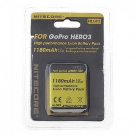 NITECORE Battery Replacement 1180mAh for GoPro HD Hero 3/3+ AHDBT-302 - NLGP3 - Black/Yellow - 2