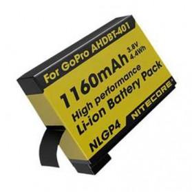 NITECORE Battery Replacement 1160mAh for GoPro Hero4 AHDBT-401 - NLGP4 - Yellow - 2