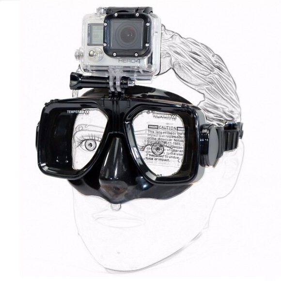Xiaomimi Anti-Fog Diving Goggles for Action Camera - Black - 1