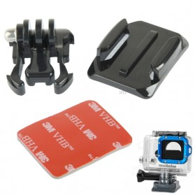 TMC Buckle Basic and Curved Mount with 3M Adhesive Sticker for GoPro / Xiaomi Yi / Xiaomi Yi 2 4K - HR67 - Black