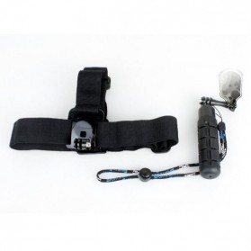 TMC Head Belt Strap and Grenade Monopod Grip Set for GoPro 3/3+/4 & Xiaomi Yi / Xiaomi Yi 2 4K - EBL017 - Black