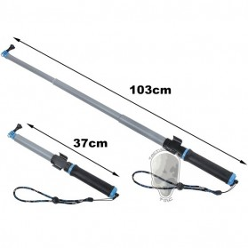 TMC Monopod Floating Extension Pole with Wireless Remote Control Slot 14-41 Inch - HR321 - Blue - 4
