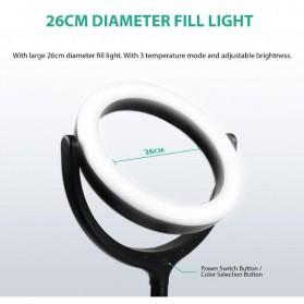 Remax Lampu Halo Ring Light Selfie 96 LED 10 Inch with Monopod + Smartphone Holder - RL-LT13 - White - 5