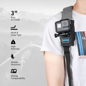 TELESIN Backpack Shoulder Strap Mount for GoPro Xiaomi Yi GP-BPM-003 - Black - 8