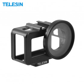 Telesin Protective Aluminum Frame Case with UV Filter for DJI Osmo Action - OA-B001 - Black