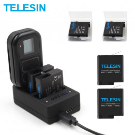 Telesin Charger Baterai 2 Slot + Charger WiFi Remote Control with 2xBattery for GoPro Hero 5/6/7 - GP-BnC-501 - Black - 1