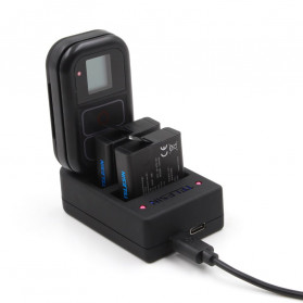 Telesin Charger Baterai 2 Slot + Charger WiFi Remote Control with 2xBattery for GoPro Hero 5/6/7 - GP-BnC-501 - Black - 2