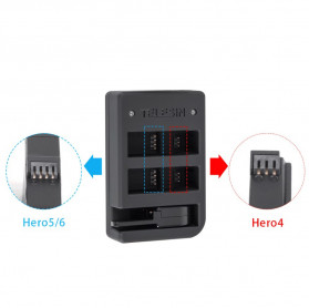 Telesin Charger Baterai 2 Slot + Charger WiFi Remote Control with 2xBattery for GoPro Hero 5/6/7 - GP-BnC-501 - Black - 3
