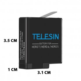 Telesin Charger Baterai 2 Slot + Charger WiFi Remote Control with 2xBattery for GoPro Hero 5/6/7 - GP-BnC-501 - Black - 6