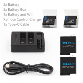 Telesin Charger Baterai 2 Slot + Charger WiFi Remote Control with 2xBattery for GoPro Hero 5/6/7 - GP-BnC-501 - Black - 7