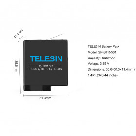 TELESIN Charger Baterai 3 Slot Storage Box with 2xBattery for GoPro Hero 5/6/7 - GP-BnC-502 - Black - 7