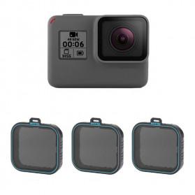 Filter Lensa Action Camera - Telesin Lensa Neutral Density ND Filter Lens ND4 ND8 ND16 3 PCS for GoPro Hero 5/6/7 - GP-FLT-ND1 - Black