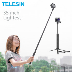 Telesin Tongsis Monopod Foldable Selfie Stick Carbon Fiber 90cm with Tripod - GP-MNP-90T - Black