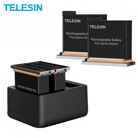 TELESIN Charger Baterai 3 Slot with 2xBattery for DJI Osmo Action - OS-BnC-002 - Black