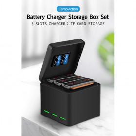TELESIN Charger Baterai 3 Slot Storage Box for DJI Osmo Action - OS-BCG-003 - Black - 5
