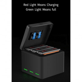 TELESIN Charger Baterai 3 Slot Storage Box for DJI Osmo Action - OS-BCG-003 - Black - 9