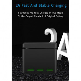 TELESIN Charger Baterai 3 Slot Storage Box with 2xBattery for DJI Osmo Action - OS-BnC-003 - Black - 7