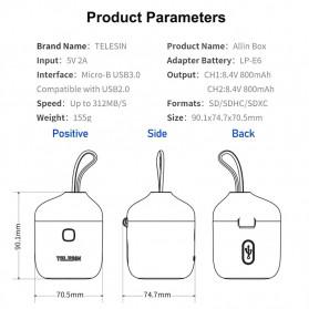 TELESIN Allin Charger Box Baterai Kamera Card Reader Storage for Canon LP-E6 - AN-BCG-LPE6 - Gray - 6