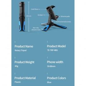 Telesin Tripod Mini Smartphone + Clamp Holder - TE-TRP-MB1 - Black Blue - 7