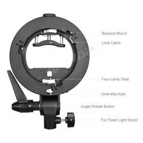 Godox S Speedlite Flash Mount Holder Bracket Lampu Kamera - Black - 5
