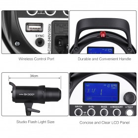 Godox SK300II Professional Compact Studio Flash Strobe Light 300Ws 2.4G Wireless - Black - 6