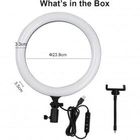 Godox Lampu Halo Ring Light LED Kamera 23.9cm with 1xSmartphone Holder - LR120 - Black - 9