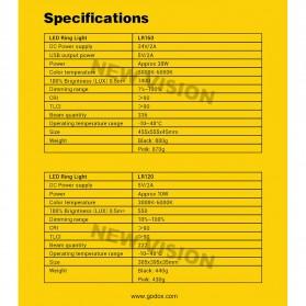 Godox Lampu Halo Ring Light LED Kamera 23.9cm with 1xSmartphone Holder - LR120 - Black - 10