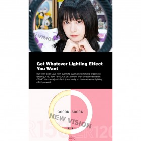 Godox Lampu Halo Ring Light LED Kamera 36.1cm with 1xSmartphone Holder - LR150 - Black - 7