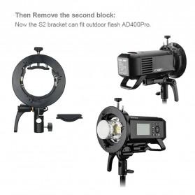 Godox S2 Bowens Mount Flash S-Type Holder Bracket for Godox V1 V860II TT350 AD400Pro AD200Pro - Black - 3