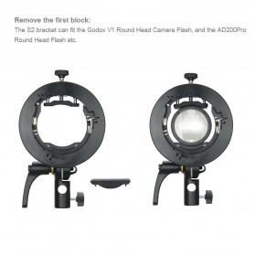 Godox S2 Bowens Mount Flash S-Type Holder Bracket for Godox V1 V860II TT350 AD400Pro AD200Pro - Black - 7