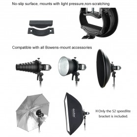 Godox S2 Bowens Mount Flash S-Type Holder Bracket for Godox V1 V860II TT350 AD400Pro AD200Pro - Black - 9