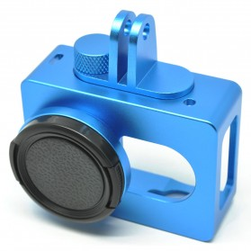 Aluminium Protective Case for Xiaomi Yi with CNC Screw - Blue