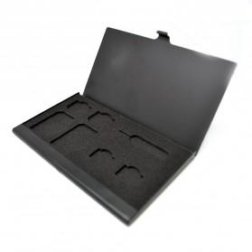 SIM Adapter - Kotak SIM Card Metal untuk 2 Standard+ Micro + Nano + Sim Eject - Black