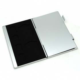 ISKYBOB Metal 12 In 1 Aluminium 8 Micro SD + 4 SD Card Storage Box - MCC01 - White - 2