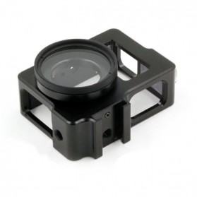 Metal Aluminium Case Shell Frame Housing for Xiaomi Yi with CNC Screw & UV Filter - Black - 8