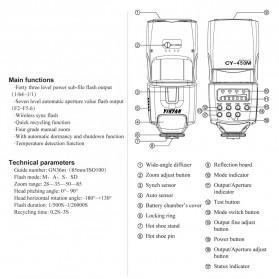 Yinyan Flash Kamera Zoom Speedlite 5600K Untuk DSLR Canon Nikon - CY-450M - Black - 8