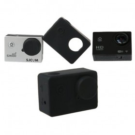Soft Rubber Silicone Case with Lens Cap for SJ4000Wifi SJ4000+ EKEN H9 - Black