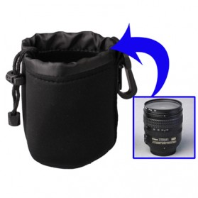 Pouch Neoprene Lensa DSLR dengan Clip (9x12cm) - Black
