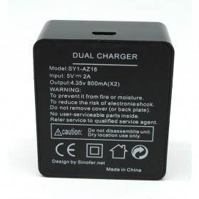 Sinofer Dual Battery Charger for Xiaomi Yi 2 4K - Black - 4