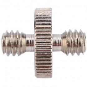 Jadkinsta Hot Shoe 1/4 Male to 1/4 Male Thread Adapter - RV81 - Silver - 2