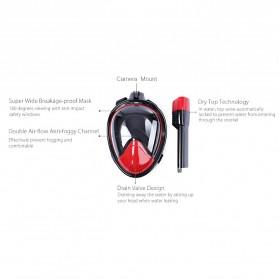 Snorkel Full Face Size L/XL dengan Mount GoPro Xiaomi Yi - Black - 5