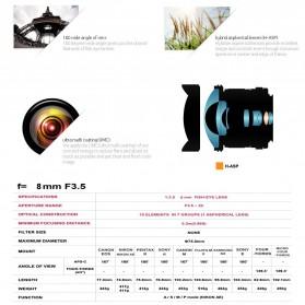 Kelda Lensa Kamera Fish Eye Fixed Focus 8mm f/3.5 untuk Nikon - Black - 10