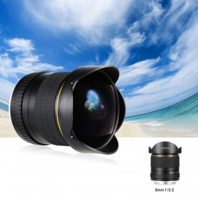 LIGHTDOW Lensa Kamera Fish Eye Fixed Focus 8mm f/3.5 for Canon - Black - 6