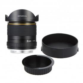 LIGHTDOW Lensa Kamera Fish Eye Fixed Focus 8mm f/3.5 for Canon - Black - 7