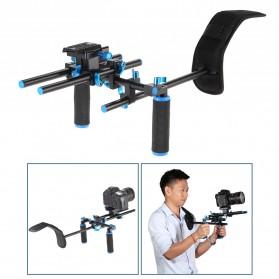 Stabilizer Kamera Shoulder Support Rig Double Handgrip - D4 - Black - 2