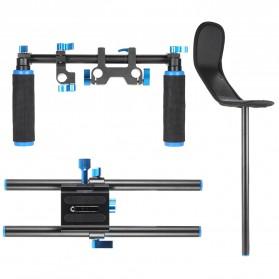 Stabilizer Kamera Shoulder Support Rig Double Handgrip - D4 - Black - 4