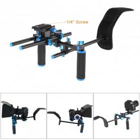 Stabilizer Kamera Shoulder Support Rig Double Handgrip - D4 - Black - 5