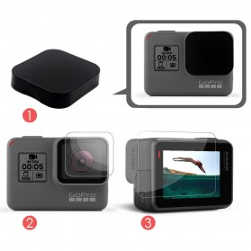 Lens & LCD Screen Protector with Lens Cap for GoPro Hero 5/6/7 - Black